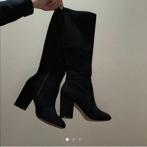 ALDO Aloessa knee high black suede boots, size 5.